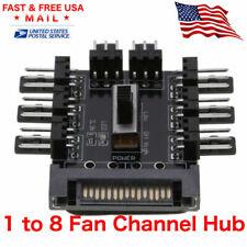 Fan 1 to 8 Channel Hub 12V 3Pin Power Supply Splitter Adapter PC Fan with LED