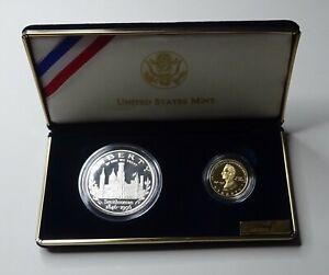 1996 Smithsonian 150th Anniv Proof Silver and $5 Gold Set -Box & COA No Reserve!