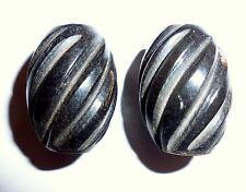 Horn perlen Schwarz Olive gerieft zum Basteln für Schmuck 2 Perlen 23x15mm