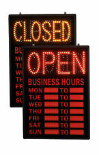 Open/Closed Led Sign With Hours (Dry Erase Hours)