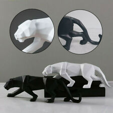 Modern Abstract Black Panther Sculpture Geometric Resin Leopard Statue Ornament