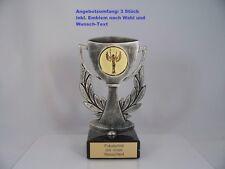 3 METALL POKAL STÄNDER inkl. Emblem & Gravur Schild H je 20 cm Ehrenpreis Pokale