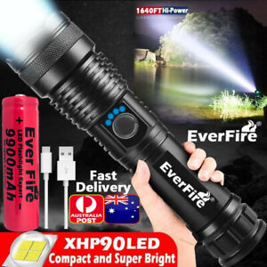Super Bright XHP90 Flashlight Zoomable 990000Lumens Rechargeable USB Torch Light