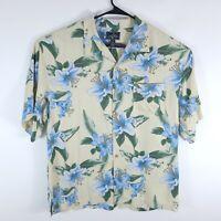 Bermuda Bay Yellow Floral Hawaiian Button Up Camp Shirt Men's Size XL 100% Silk