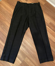 "Vintage 40s 50s Atomic Fleck Shadow Plaid Drop Loop Navy Blue Pants 36"" Trousers"
