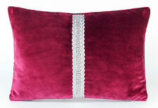"New Anthology Velvet Fabric Bolster Cushion Cover 20 x 14"" Magenta Silver"