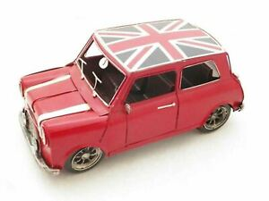 Jayland Large Scale Tinplate Model Mini Cooper Red with Union Jack Figurine