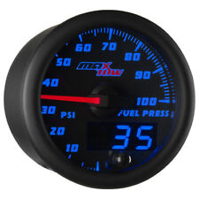 MaxTow 52mm Black & Blue Double Vision 100 PSI Fuel Pressure Gauge - MT-BDV11