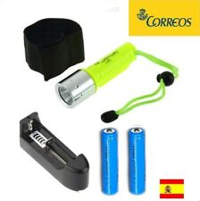 LINTERNA LED CREE XM-L T6 1000LM SUBMARINISMO PESCA BUCEO 18650 +cargador +pilas