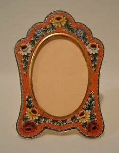 Vintage Easel Back MICRO MOSAIC & BRASS Floral Picture Frame MADE IN ITALY