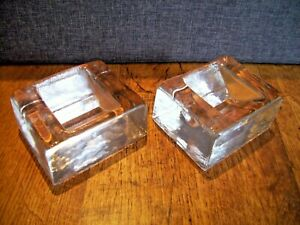 Pair of Italian Studio Art Clear Glass Ice Block Paperweights Early 20th Century