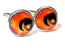 Handmade, Orange Planet Cufflinks Silver Plated Setting, Gift Boxed!