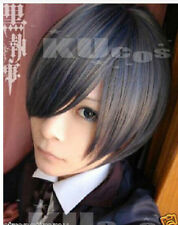 Black Butler Ciel Phantomhive Short Blue Gray mixed color Cosplay wig
