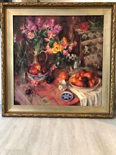 Nan Cunningham signed original acrylic on canvas floral & fruit still life 40x40