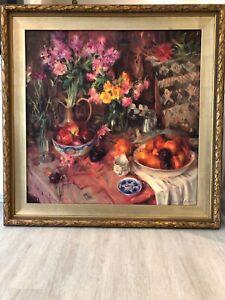 Nan Cunningham signed original acrylic on canvas floral & fruit still life 40x40