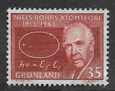 GREENLAND ISSUE - MINT HINGED COMMEMORATIVE STAMP 1963 - NIELS BOHR, THEORIES