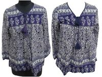Cotton new blue floral Bohemian gypsy blouse top women's   Plus size available