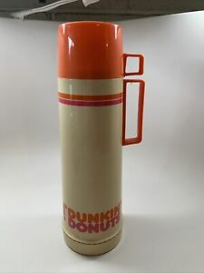 Vintage Dunkin' Donuts Thermos 10 Oz. Qt with Handle Orange and Pink
