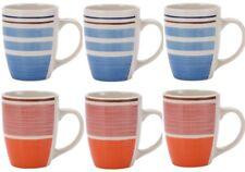 Renberg Set di 6 Tazze Caffè a Righe. tazze in gres colori brillanti a righe