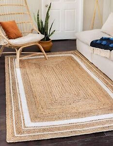 3x5 feet square indien braided natural jute runner rug with white boarder floor