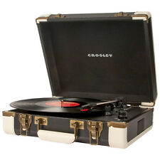 Crosley CR6019-A Executive Portable USB Turntable Record Player Black White