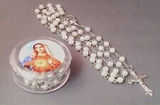 Rosary WHITE FAUX PEARL Bead w/Keepsake Case Necklace SACRED HEART Image