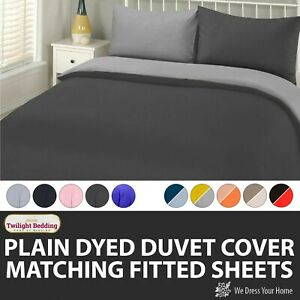 PLAIN DYED QUILT DUVET COVER Bedding Set With Pillowcase Single Double King Size