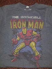 Invincible Iron Man Silver Bronze Tony Stark T-Shirt Men's S Small Gray 60/40