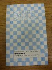 31/10/1967 Queens Park Rangers v Burnley [Football League Cup] (team changes). T