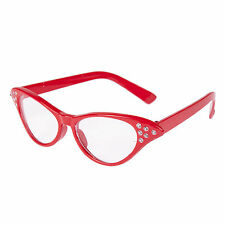 1950's Rock 'n' Roll Grease Style Fancy Dress Party Glasses - Red