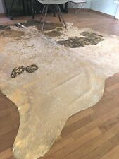 Kuhfell Stierfell Metallic Schwarz, Weiß und Gold - ca. 250 cm x 210 cm, NEU,RUG