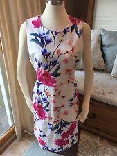 Lands' End Colorful Floral Ponte Stretch Sheath Dress 12 Excellent