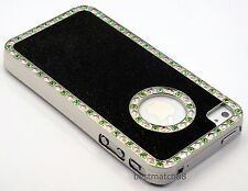 FOR IPHONE 4 4S  HARD CASE black silver glitter with light  green stone