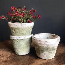 3 x bianco invecchiato PIETRA PENTOLE di piante Effetto Rustico Moss Pentola COPERTINE/fioriere