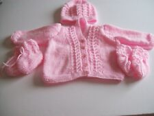 New hand knitted babies cardigan set in mid pink to fit 18""