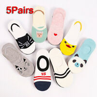 5 Pairs Women Cartoon Invisible No Show Nonslip Loafer Boat Low-Cut Cotton Socks
