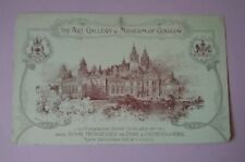 Vintage Art Gallery & Museum of Glasgow Card Advert Foundation Stone 1897