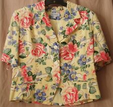 David Brooks Jacket Button Front SIZE 10 Short Sleeve Lined Floral Roses Yellow