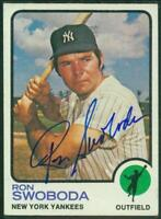 Original Autograph of Ron Swoboda of the NY Yankees on a 1973 Topps Card