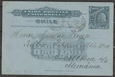 Chile 1906 Postal Stationery Card - Colon 3c blue - Valdivia Altona (Germany)