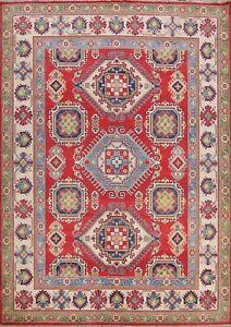 RED Super Kazak Vegetable Dye Oriental Hand-knotted Area Rug Geometric Wool 8x10