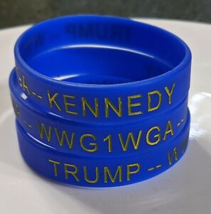 TRUMP -- KENNEDY -- JFK, JR - Silicone Stretch Bracelet Blue with Yellow Letters