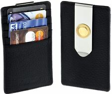 Black Leather Weekend Wallet with Card Holder and Money Clip - Luxury Gift Box