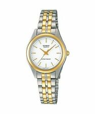 Casio LTP-1129G-7A Women's Quartz Two-Tone Analog Dress Watch w/ White Dial