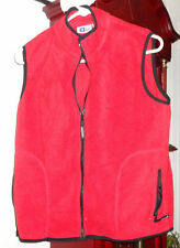 M Ladies Womens Arizona AZ Polar Fleece Vest Red Black trim Zip Front Pockets