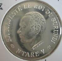 KINGDOM OF BURUNDI 100 Francs 1966 Silver UNC King Ntare V