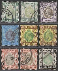 Hong Kong 1904 KEVII Part Set to 30c Used w SHANGHAI Postmarks