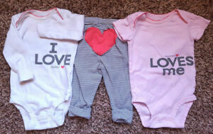 Lot of 3 Girl's Size 6 M 3-6 Months Carter's Mommy & Daddy Tops & Heart Pants