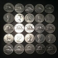 Old Canadian Nickel Lot - 25 Coins - 1953-1981 - PURE NICKEL - FREE SHIPPING!!