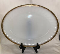 Oval Serving Platter Anchor Hocking Fire King Milk Glass White Gold Trim 9 x 12